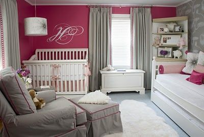I love, love, love this baby nursery.  Where was it when I was painting G's room?  Her's is similar colors but grey walls, fuchsia accents.