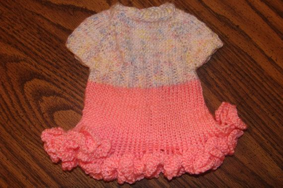 Preemie sized Hand-Knit Sundress. Perfect for Easter. Made with TLC Baby yarn. Fits up to 6 pound baby.