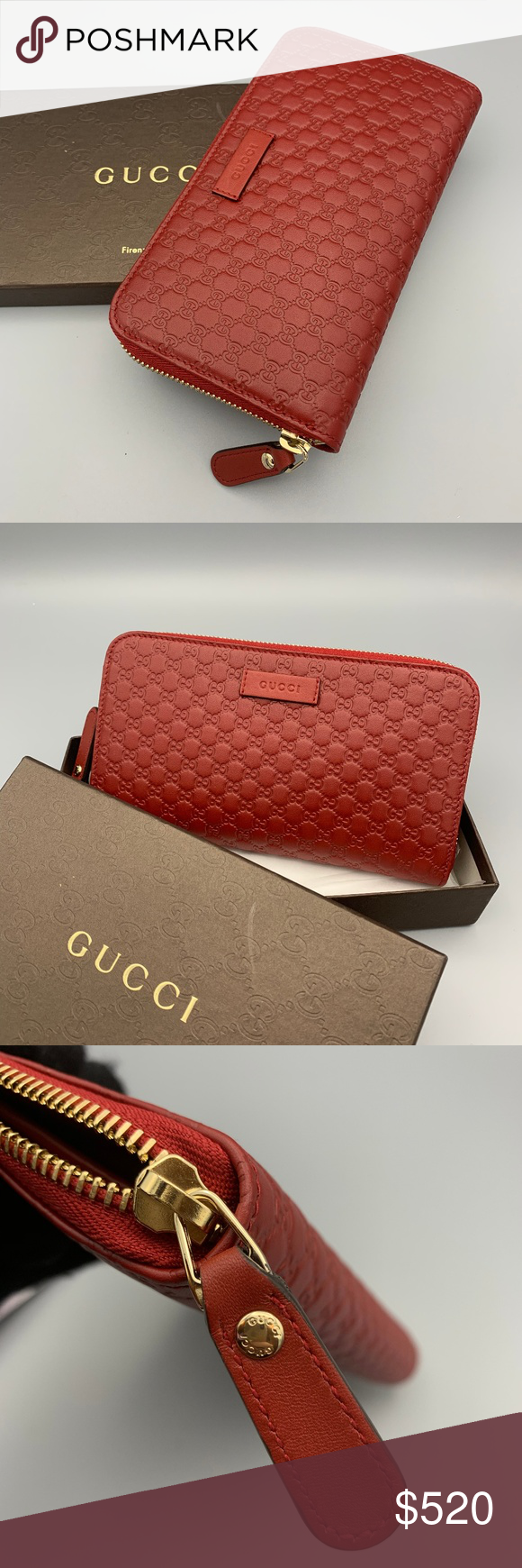 f2e242a7deb0 NWT GUCCI MicroGuccissima Leather Wallet 449391 100% Authentic New In Box Gucci  Micro GG Guccissima Red Leather Quilted Zip Around Wallet 449391 Original  ...