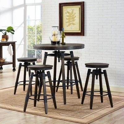 Phenomenal Vintage Industrial Style Adjustable Height Bar Table Brown Onthecornerstone Fun Painted Chair Ideas Images Onthecornerstoneorg