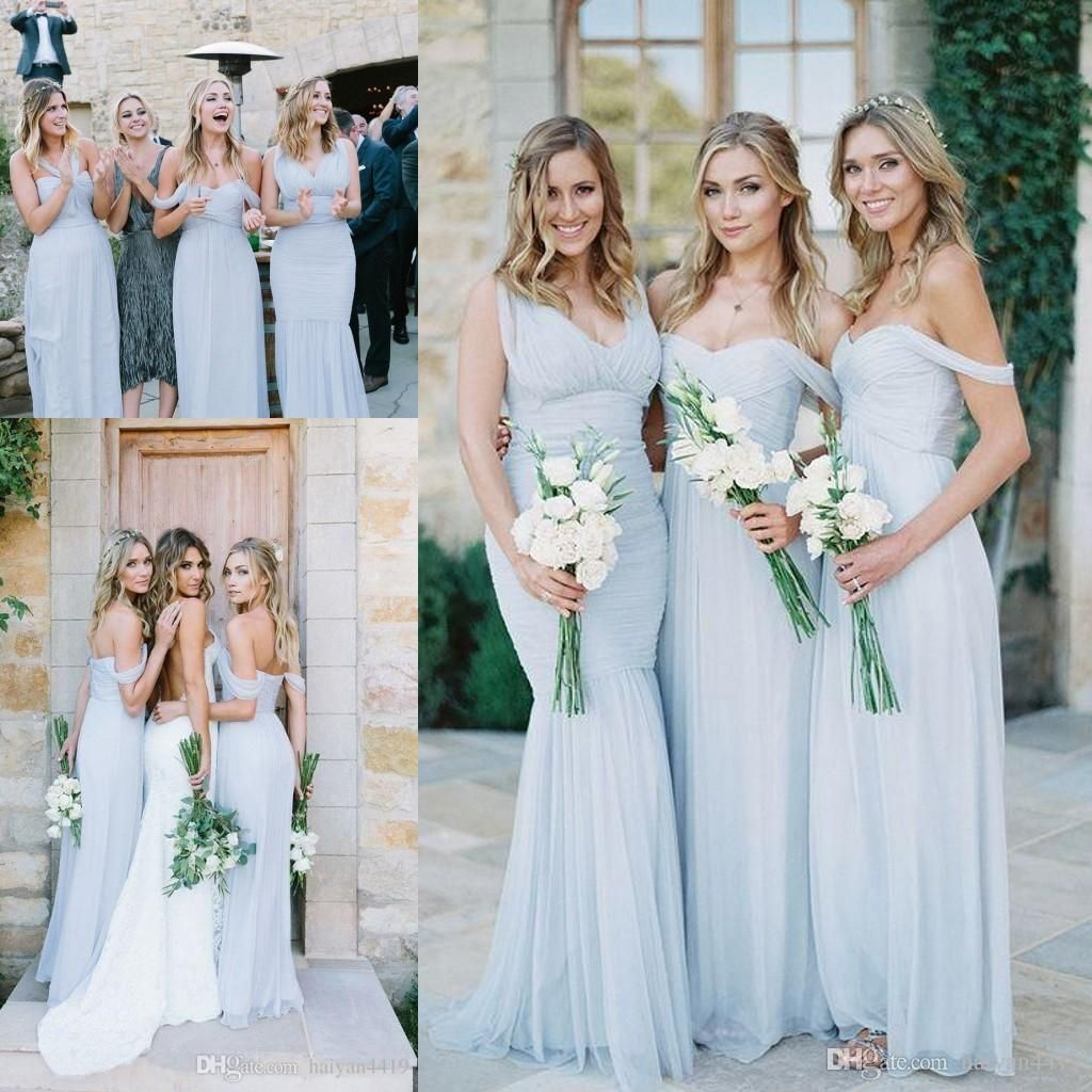 2017 New Cheap Bridesmaid Dresses Off Shoulder Chiffon Custom