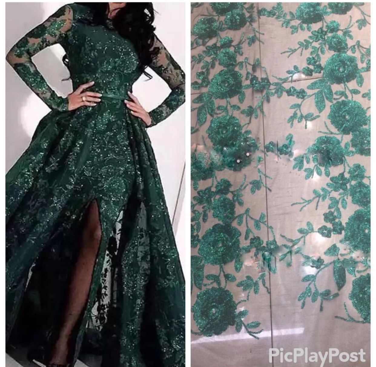 d3b404323bf  eveninggown  arabiceveningdress  mermaideveningdress  longsleeve   huntergreeneveningdress  eveningdresses2019 Green Evening Dress
