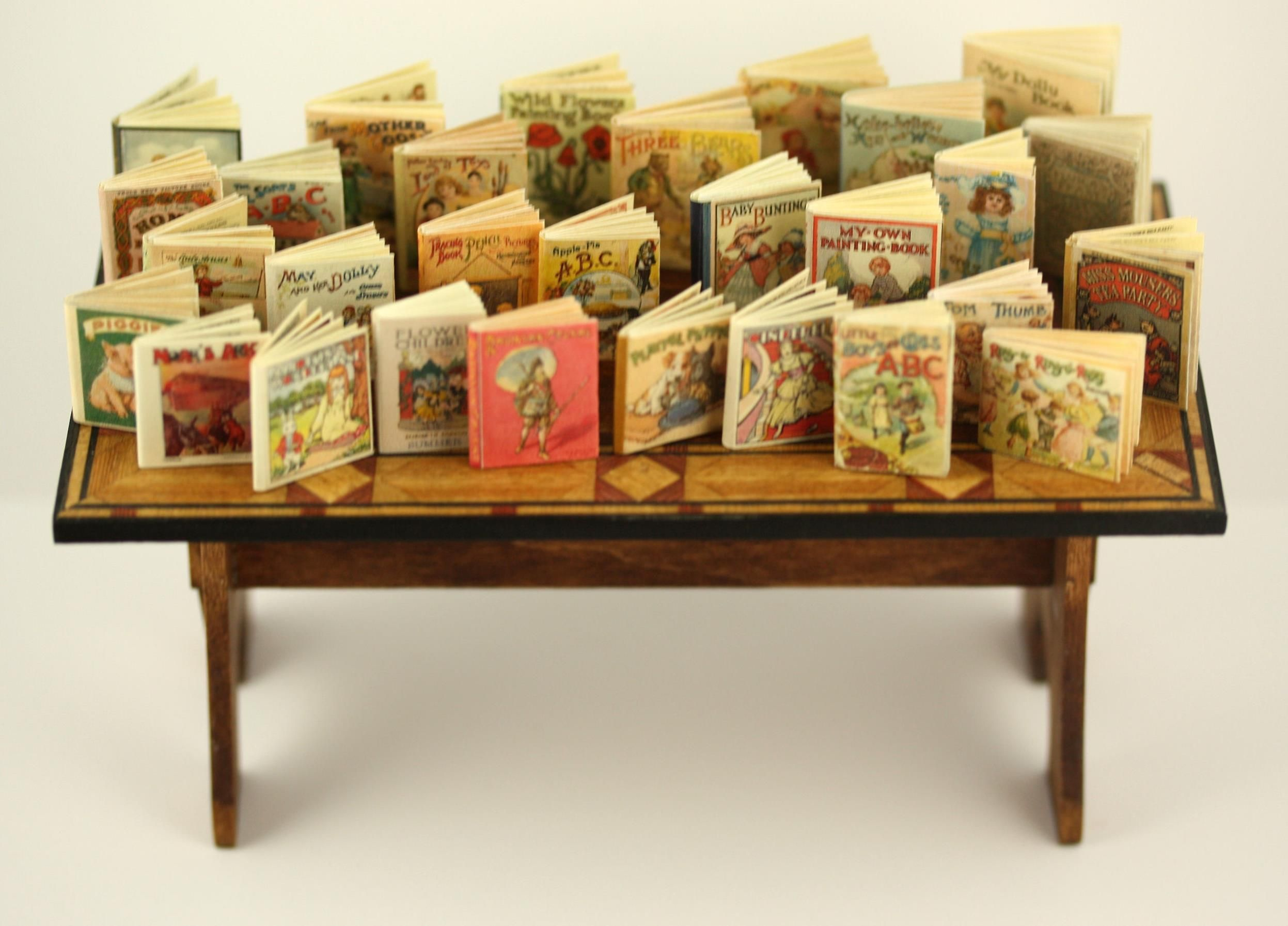 Children's vintage books by Jean Day Miniatures, Miniature Books, Fabric Panels and Doll Kits