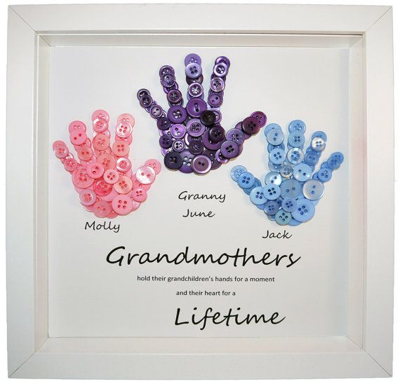 Grandmother gift button art button handprints mother 39 s for Birthday gifts for grandma from granddaughter