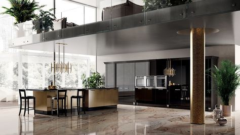 Black Italian Kitchen And Marble Floor Design Id496