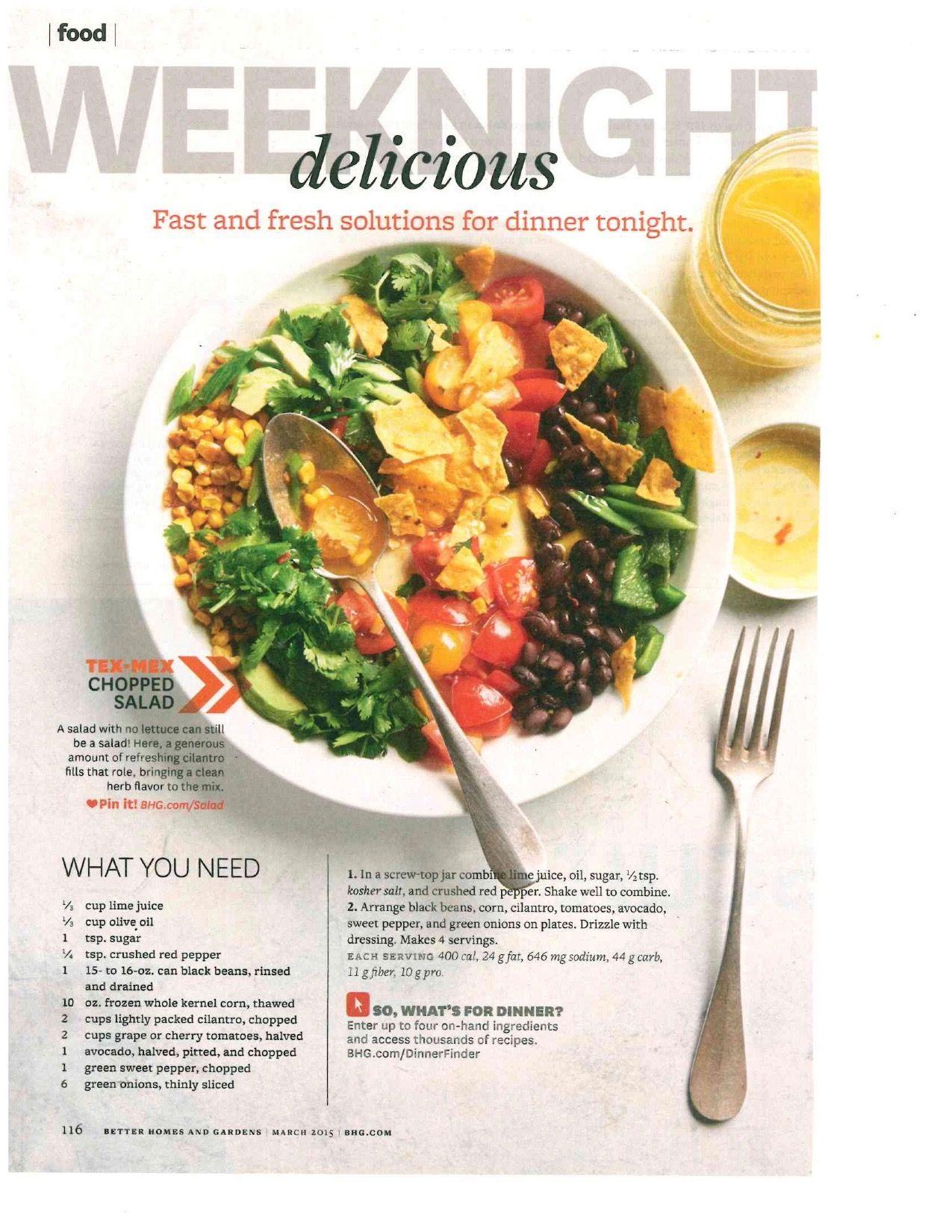 March 2015 Recipes >> Tex Mex Chopped Salad Bh G March 2015 Recipes Sandwiches