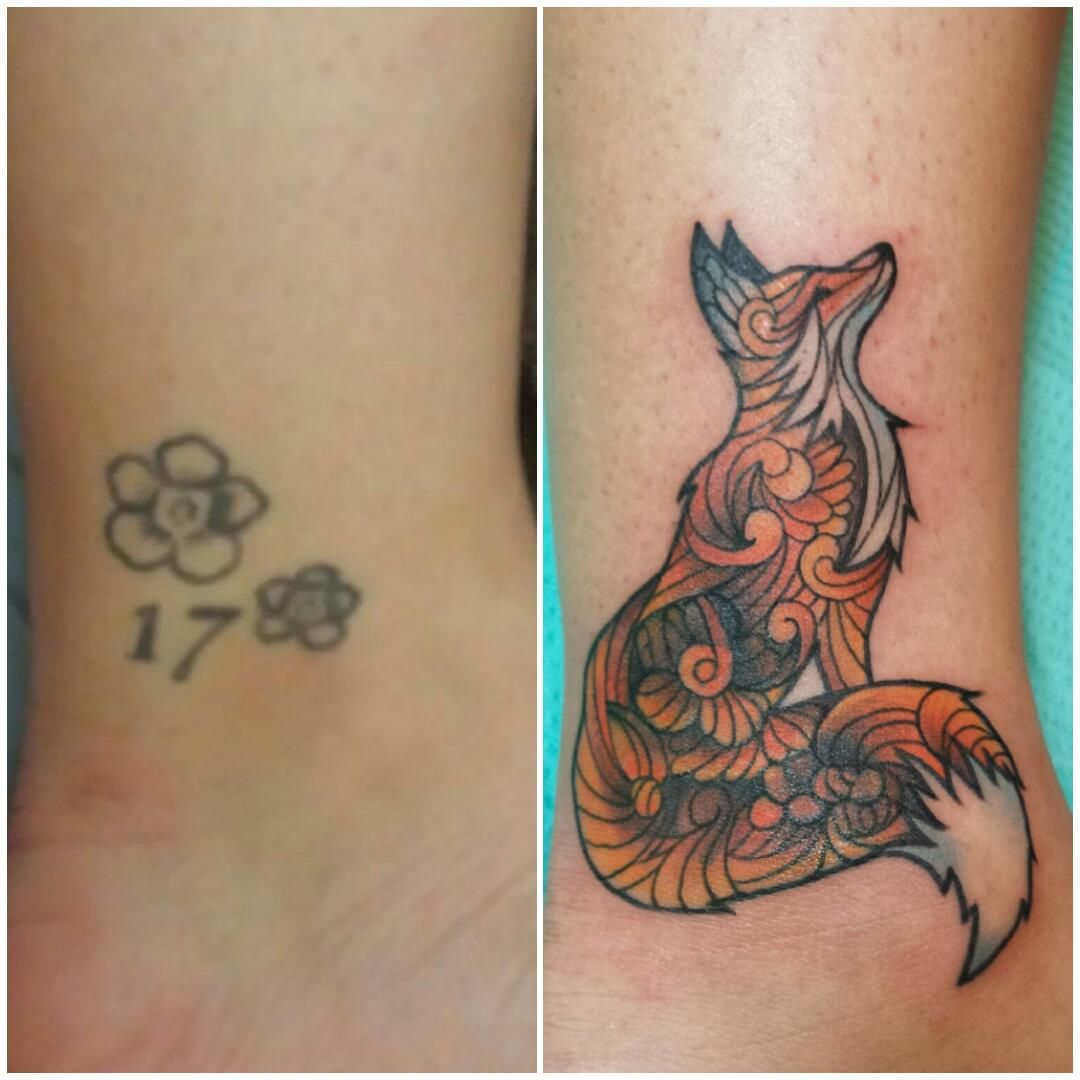 Thought You Guys Would Like Me New Fox Tattoo Cover Up R Foxes Sloth Tattoo Fox Tattoo Tattoos