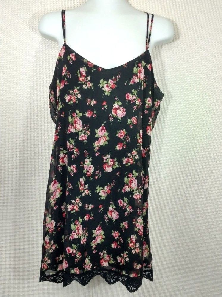 2b8e37145e266 Pins and Needles UO Black Floral Slip Dress Size M Strappy Lace Lined  Babydoll #UrbanOutfitters #ShiftDressSlipDress