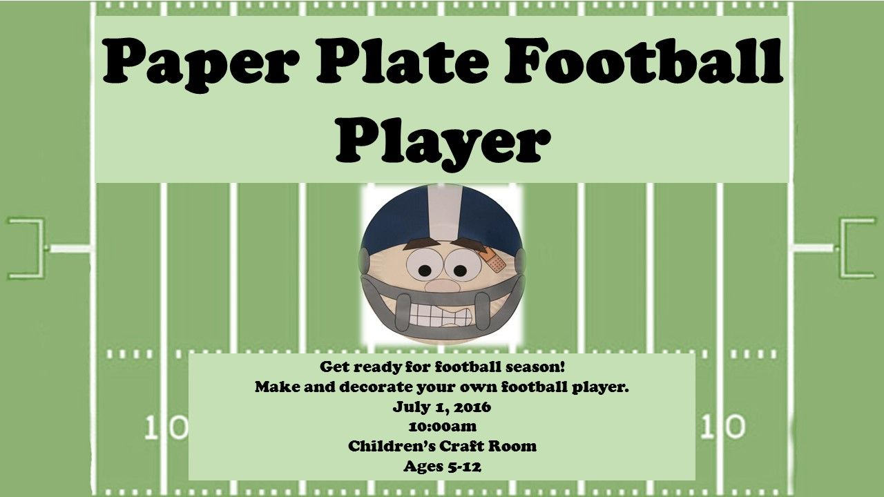 Get ready for football season by creating your own paper plate football player at the Main  sc 1 st  Pinterest & Get ready for football season by creating your own paper plate ...