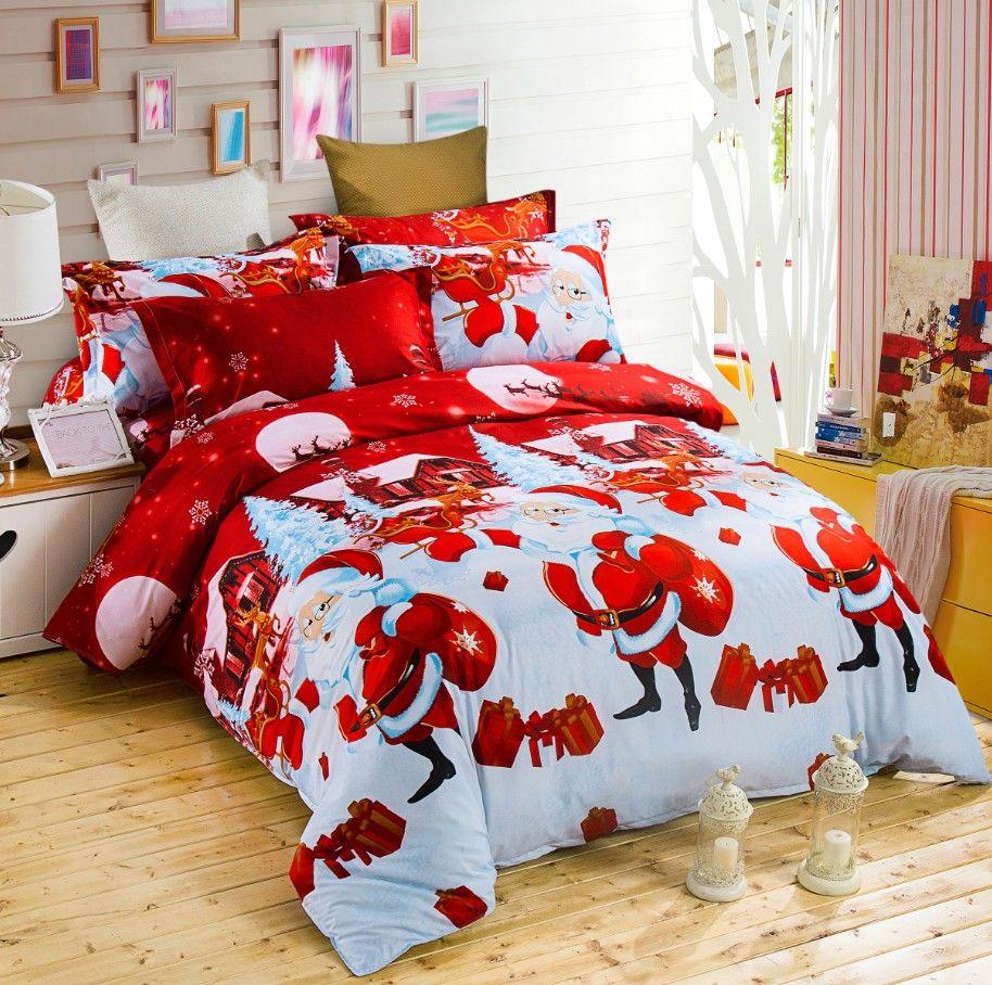 Happy christmas comforter duvet quilt cover queen full santa claus ... : red snowflake quilt - Adamdwight.com