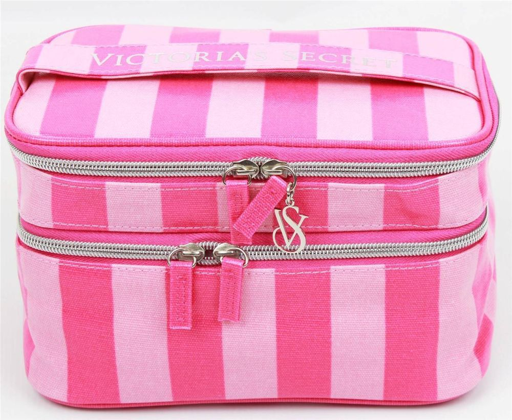 d556c0e560 Victoria s Secret Supermodel Pink Striped Makeup Cosmetic Bag Train Case  NEW  VictoriasSecret