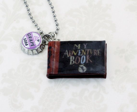 My Adventure Book Necklace with Grape Badge Disney Pixar on Etsy, $19.95