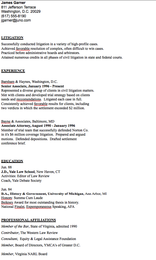 Senior Associate Attorney Resume