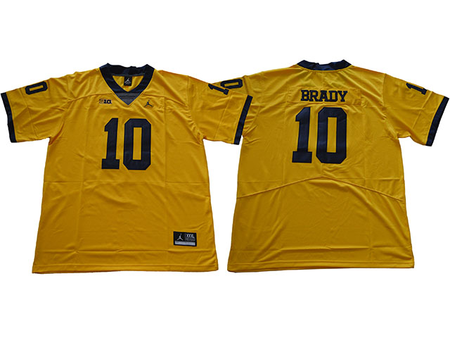 official photos 650a5 8f73c Michigan Wolverines #10 Tom Brady Gold College Football ...