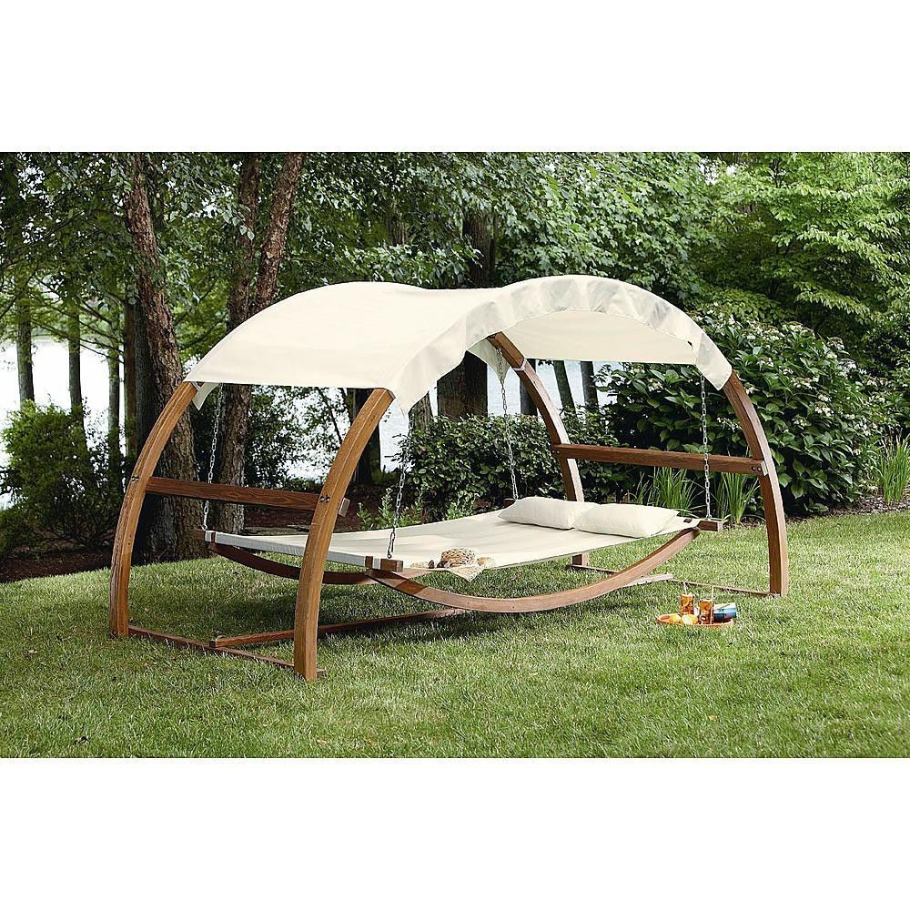 Outdoor Lawn Garden Deck Wood Patio Canopy Porch Daybed Swing Bed ...