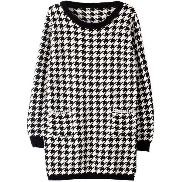Houndstooth Knit Dress with Pearl Pockets ($26) ❤ liked on Polyvore featuring dresses, chicnova, tops, sweaters, dresess, round neck dress, long sleeve knit dress, pearl dress, pocket dress and knit dress