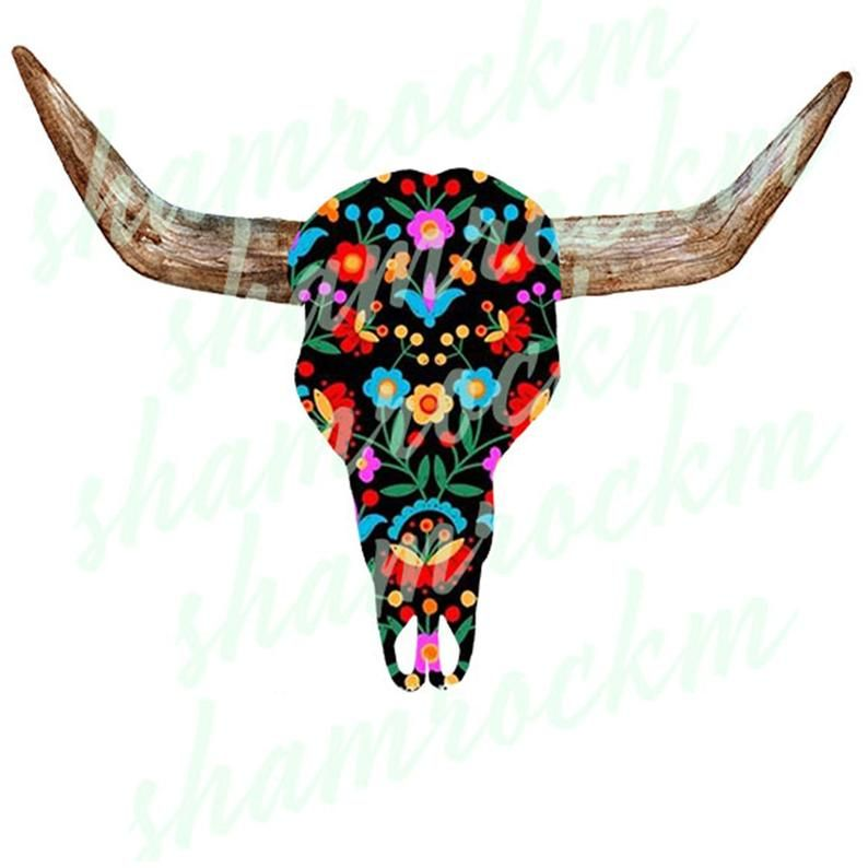 Boho Print Steer Skull Png Images With Transparent Etsy Steer Skull Boho Print Skull