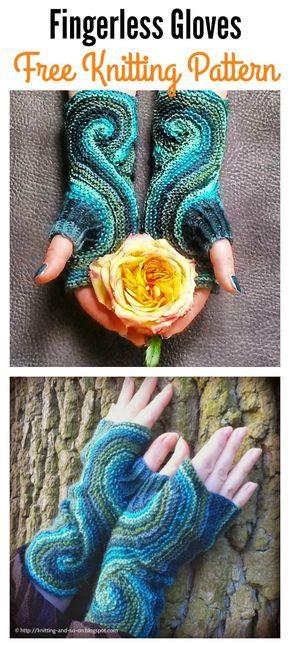 Stücke von acht fingerlose Handschuhe frei stricken und häkeln Muster