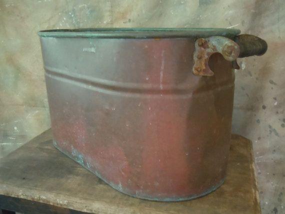 Antique Oval Copper Boiler Wash Tub Firewood Tub Circa 1900 Wash Tubs Antiques Repurposed Antiques