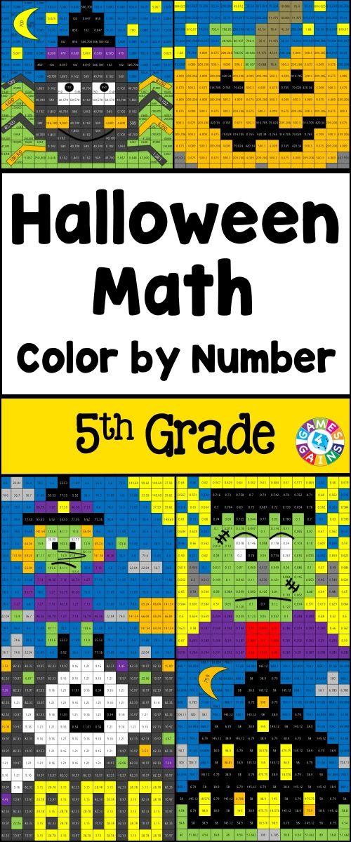 5th Grade Halloween Activities: 5th Grade Halloween Math (Color by ...