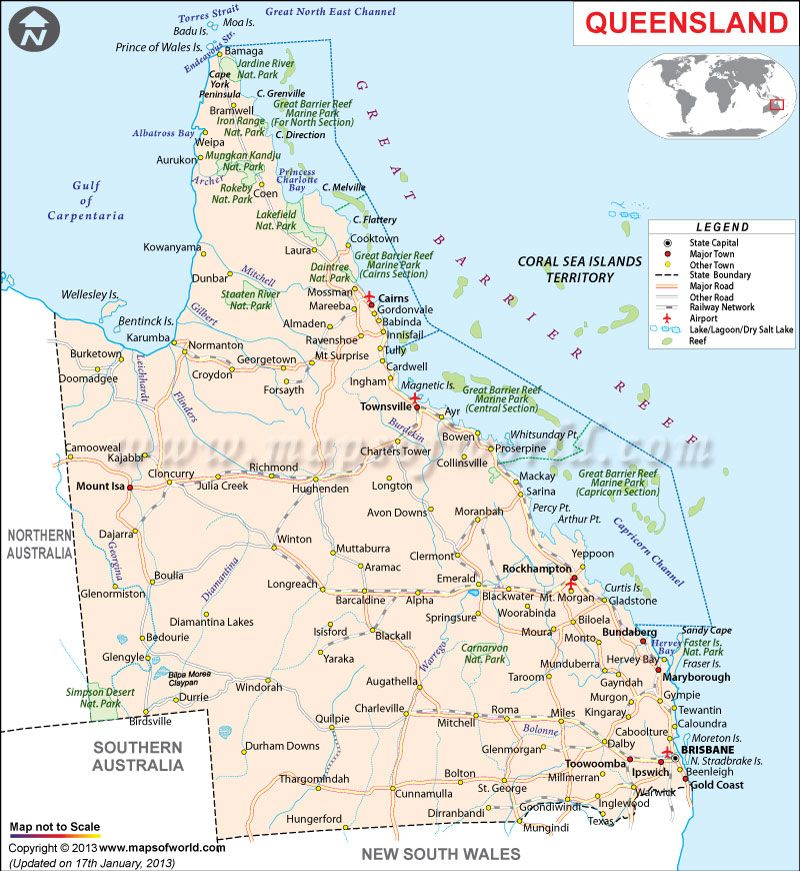 Road Map of Queensland Queensland Australia Pinterest