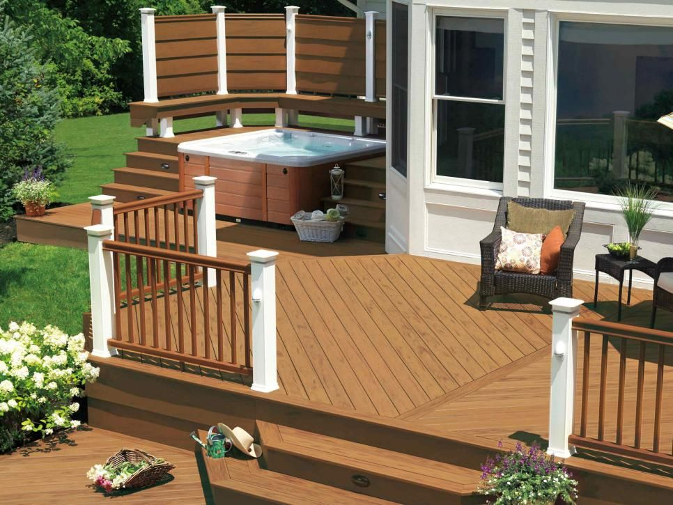 Gorgeous decks and patios with hot tubs outdoor retreat for Decks and patios design ideas