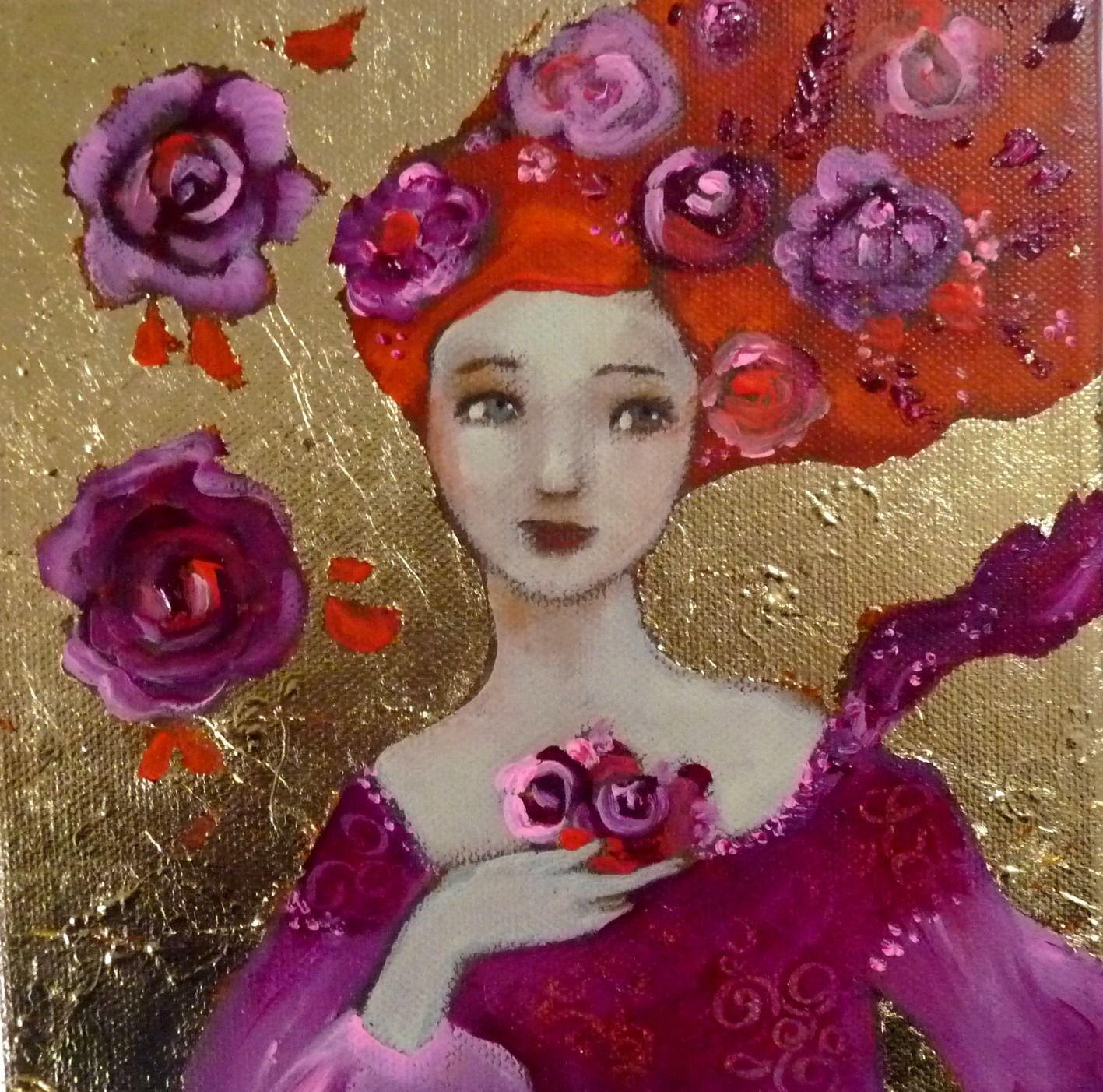 Tableau Original Acrylique Sur Toile Lola Cam Lia: fleurs pivoines