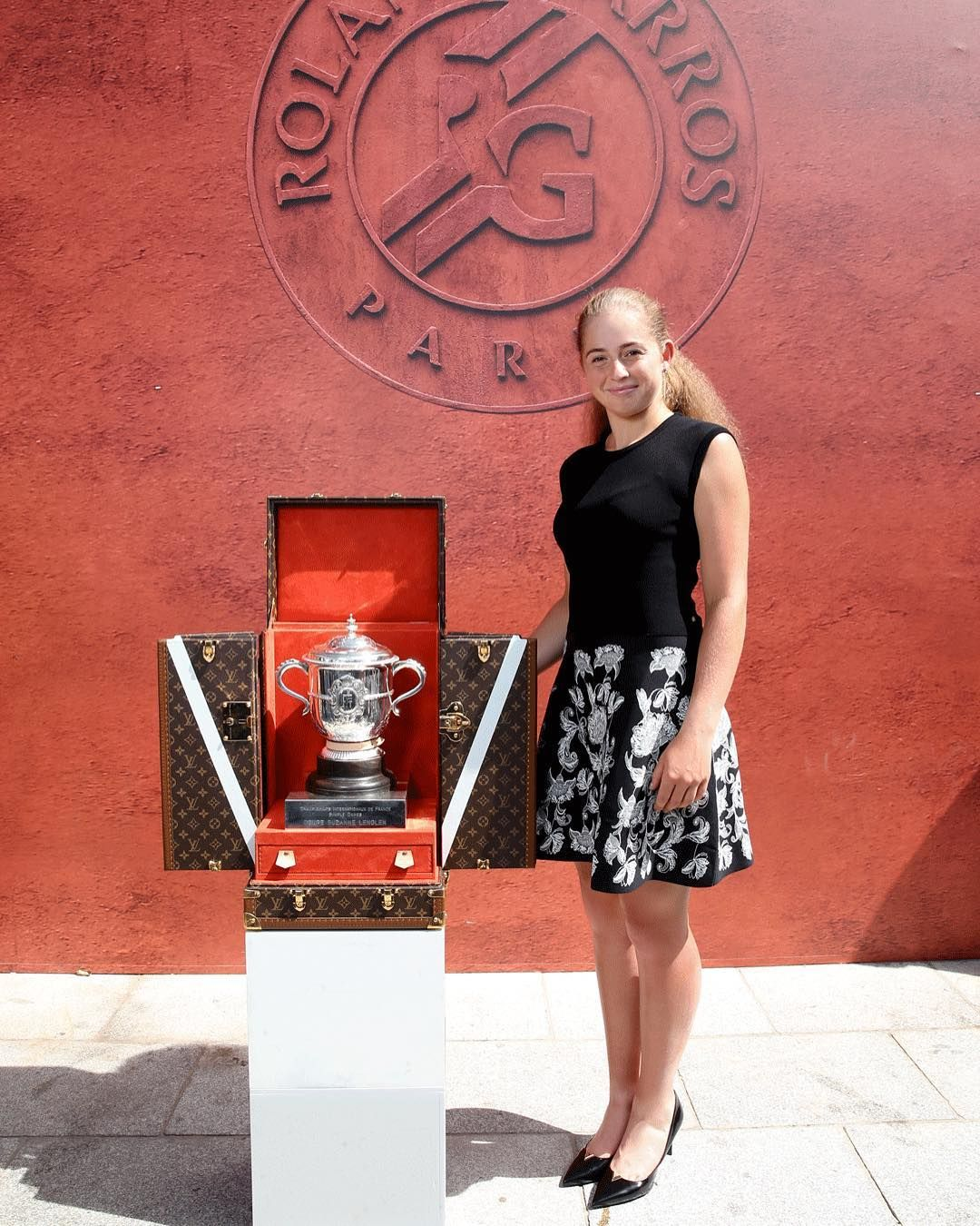 Victory Travels In Louis Vuitton Jelena Ostapenko Winner Of The French Open Roland Garros 2017 Wearing Louisvuitton By Nicolas Couture Models Louis Vuitton