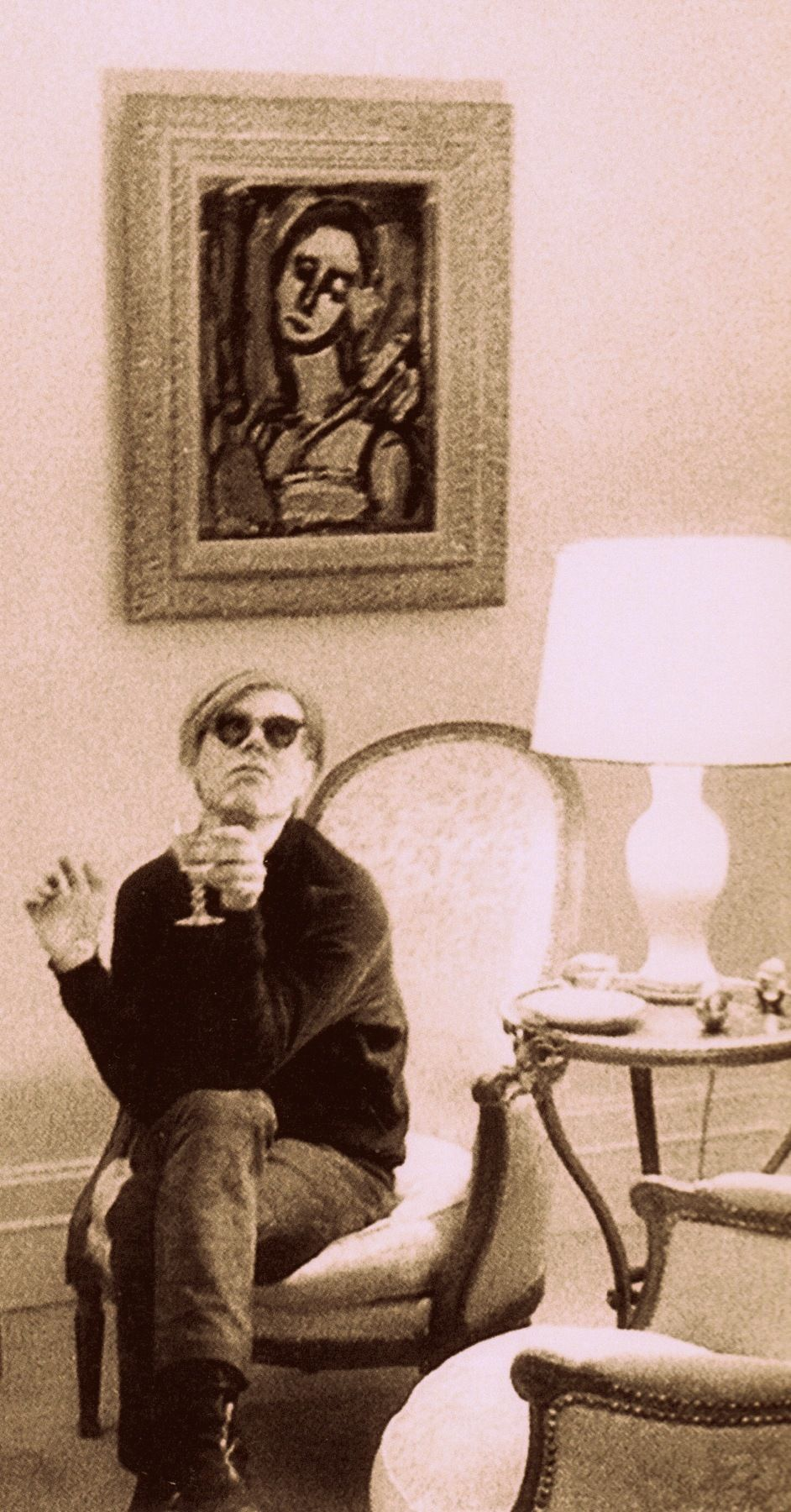 Andy Warhol in Emily Staempfli's apartment (1967) (detail) from Factory Andy Warhol Stephen Shore #andywarhol #thefactory #camp #andywarhol