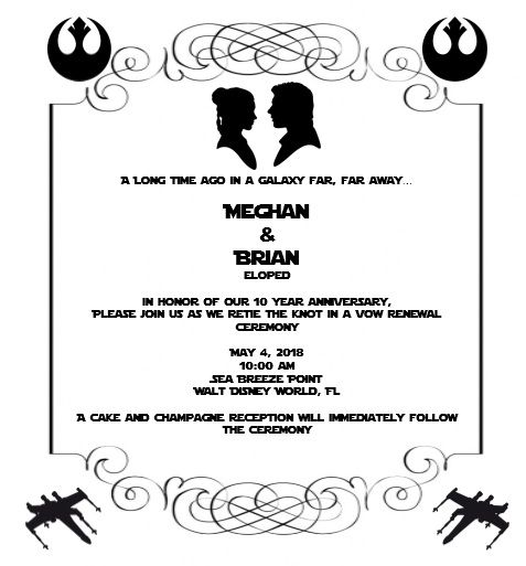 Vow Renewal Invitations Homemade Star Wars Theme Vow Renewal Invitations Vow Renewal Ceremony Vow Renewal