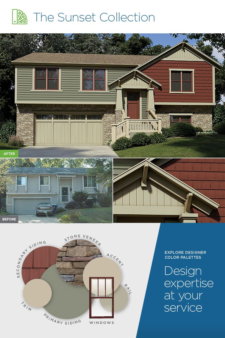 Rich Color And Striking Contrast Mastic Siding Featured Color Palette The Sunset Collection Mediu Exterior Color Palette Vinyl Siding House Vinyl Siding