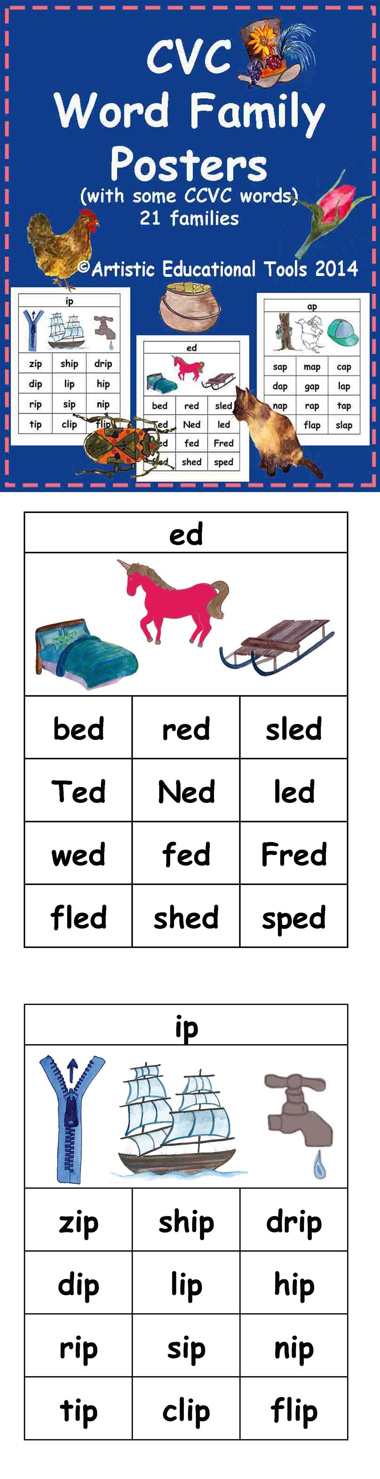 Cvc Rhyming Word Family Posters