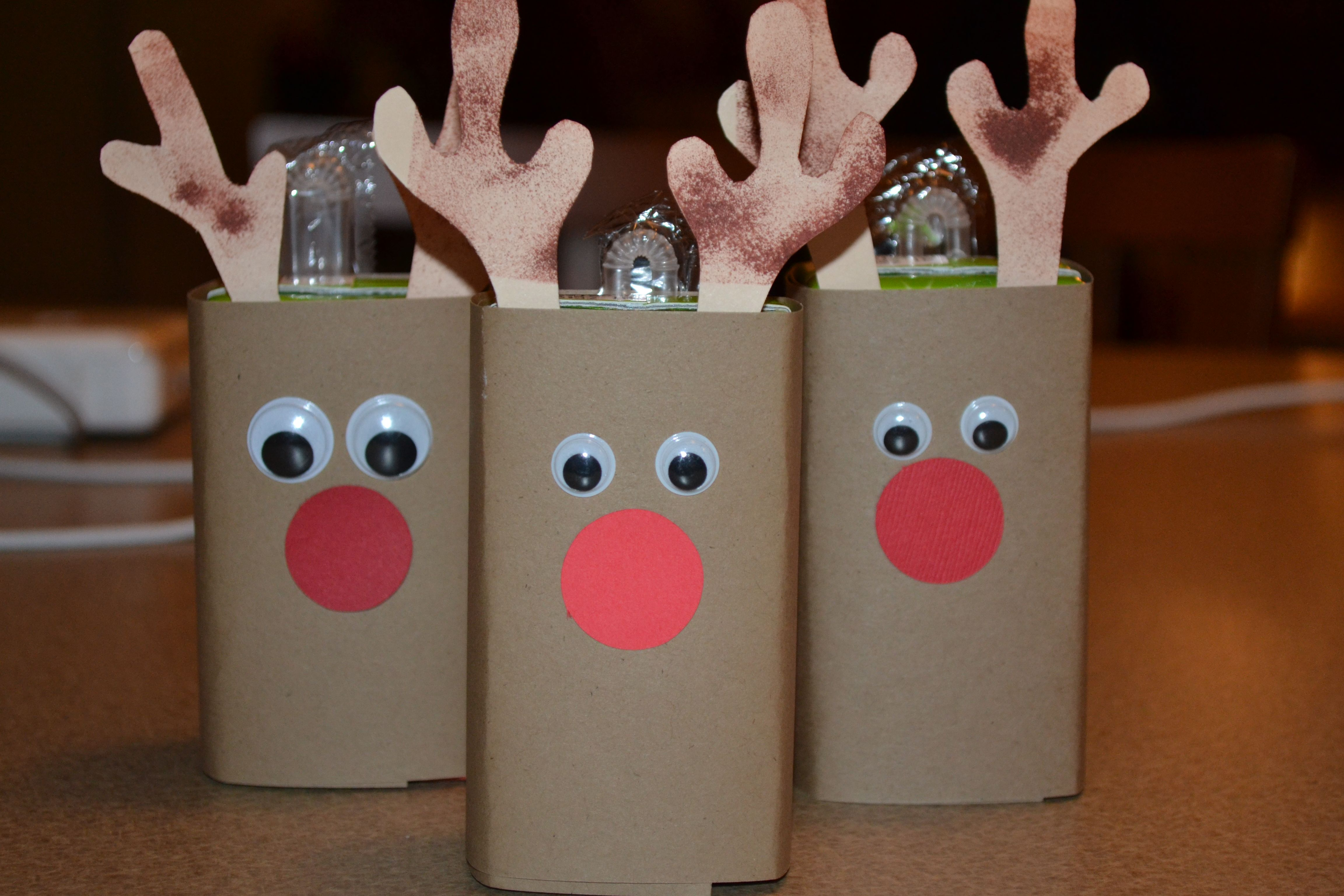 Reindeer Juice Box I Used Simple Brown Paper Tan Paper For The Antlers Inked With Brown Preschool Christmas Party Christmas Party Crafts Preschool Christmas