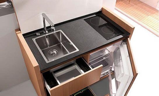 platzsparende Küche Idee mit k1-mini-küche von kitchoo | Küchen ...