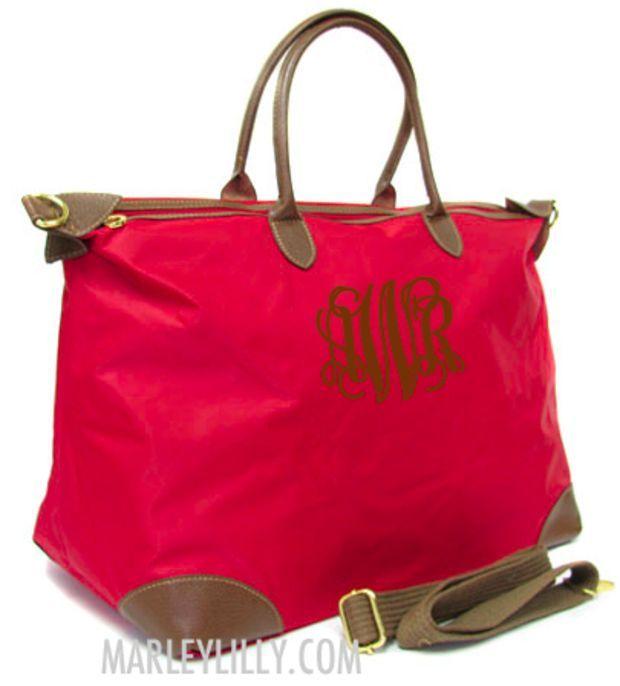 Monogrammed Red Weekend Travel Bag Preppy Custom Tote Marley Lilly