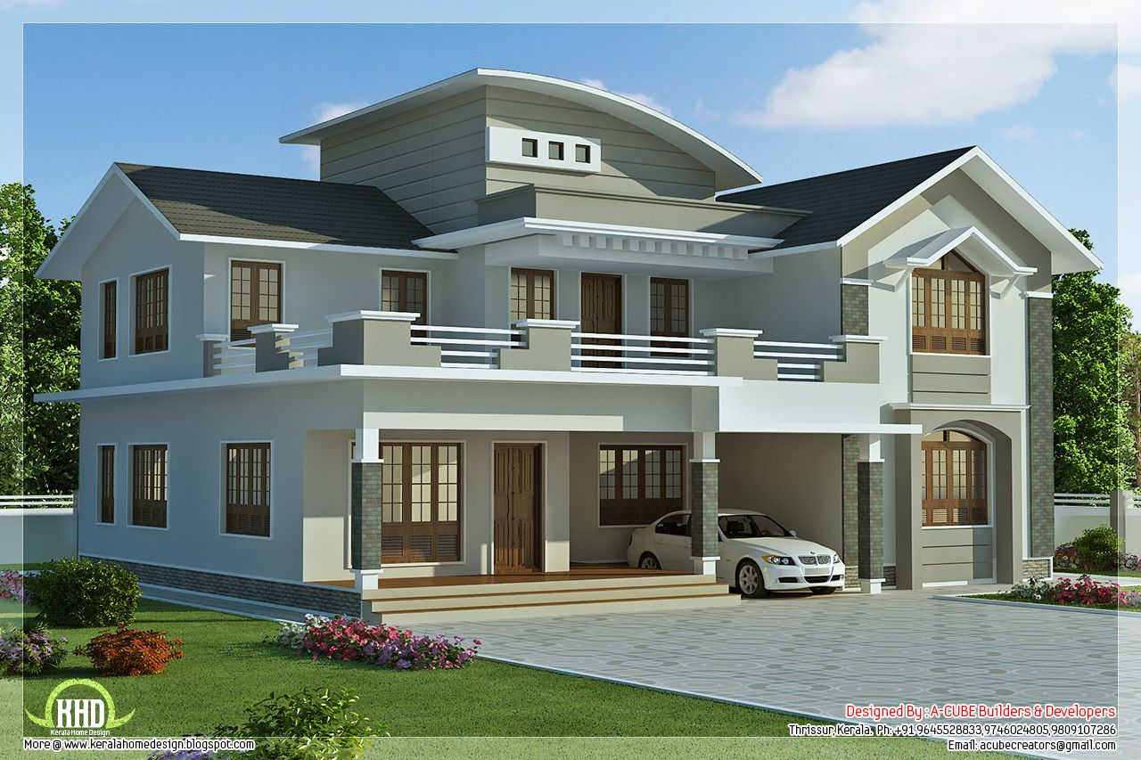 2960 4 bedroom villa design villa design villas for Kerala home designs contemporary