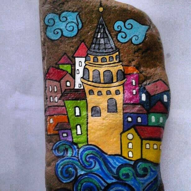 68 Hediyelik Esya Istanbul Galata Kulesi Kisiye Ozel Ilginc Dekoratif Hand Made El Yapimi Tas Boyama Creative Yaratici Tasari Sanat Boyali Kayalar Tablolar