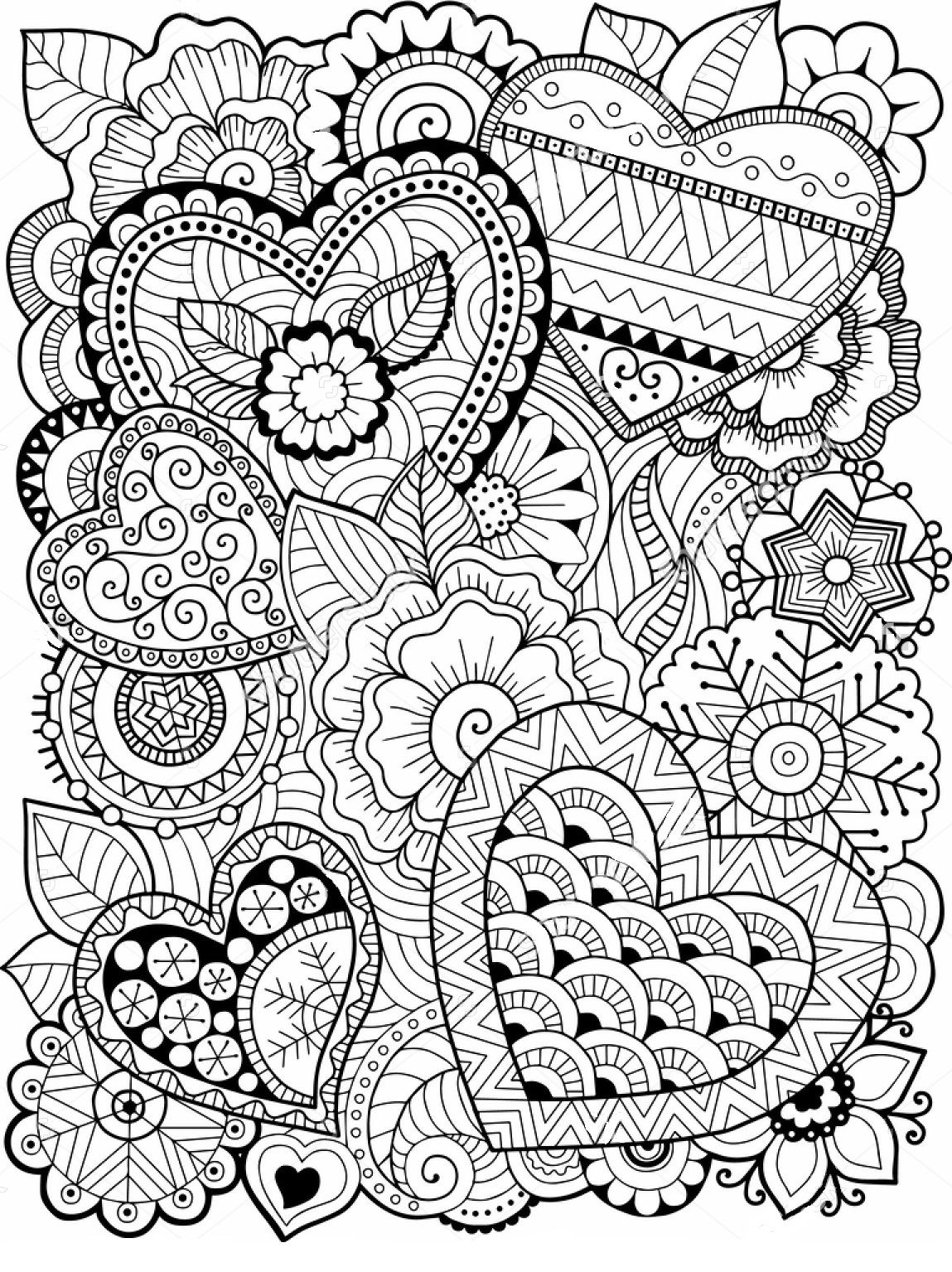Hearts Zentangle Coloring Page Heart Coloring Pages Coloring