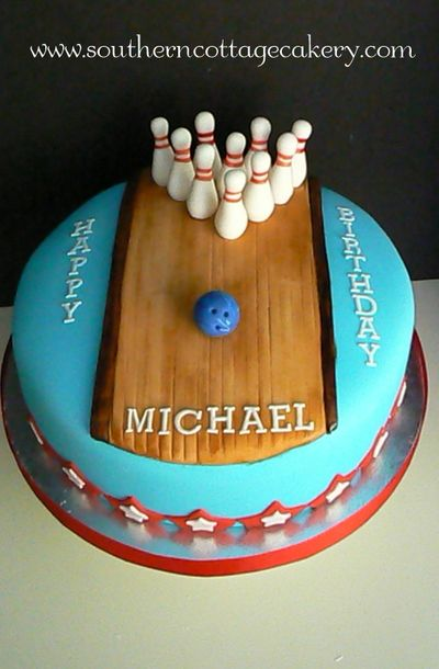Cool Bowling Birthday Bash With Images Bowling Cake Bowling Funny Birthday Cards Online Alyptdamsfinfo