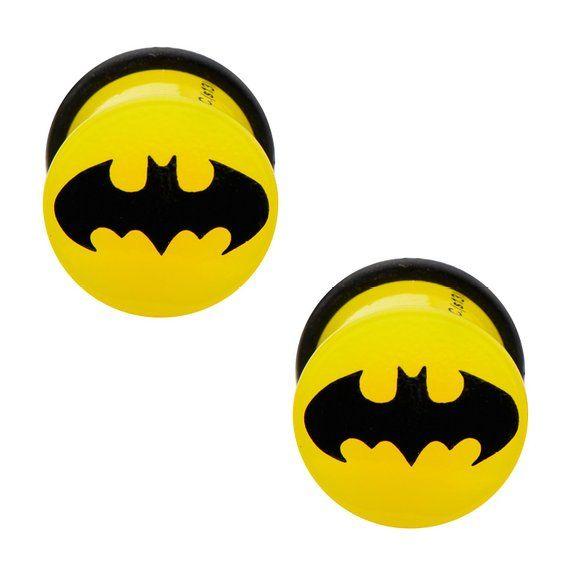 Amazon Com Batman Logo Single Flare Yellow Acrylic Plugs 00g