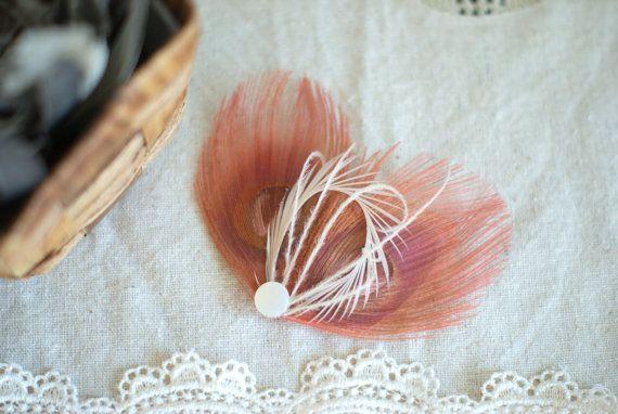 Feather Hair Accessory BLUSH Peacock Hair Piece by MaddieLus, $21.00