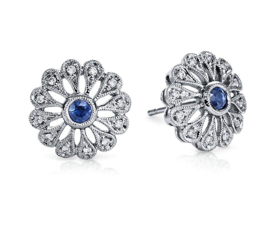 Sapphire and Diamond Filigree Earrings in 18k White Gold #BlueNile