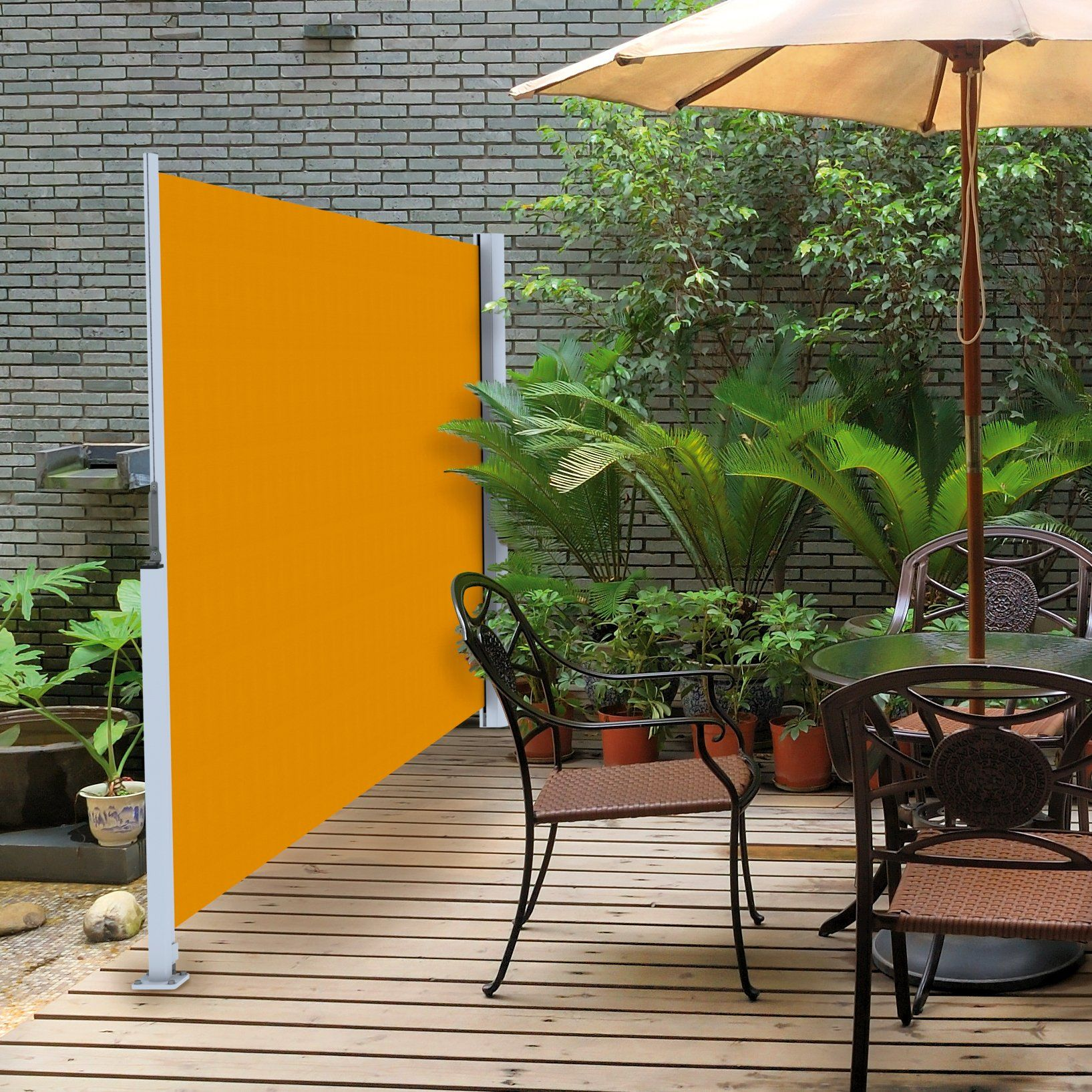 Retractable Fabric Privacy Panels. It Can Be Used As Wind Break As Well.