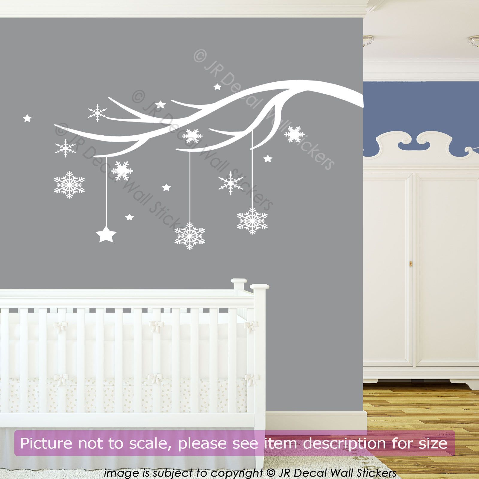 Winter Tree Branch Vinyl Wall Art Sticker Xmas Snowflake Shop