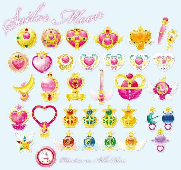 Sailor Moon Transformation Items; Moon, Chibi, Mars, Mercury, Jupiter, Venus, Neptune, Uranus, Pluto, Stars