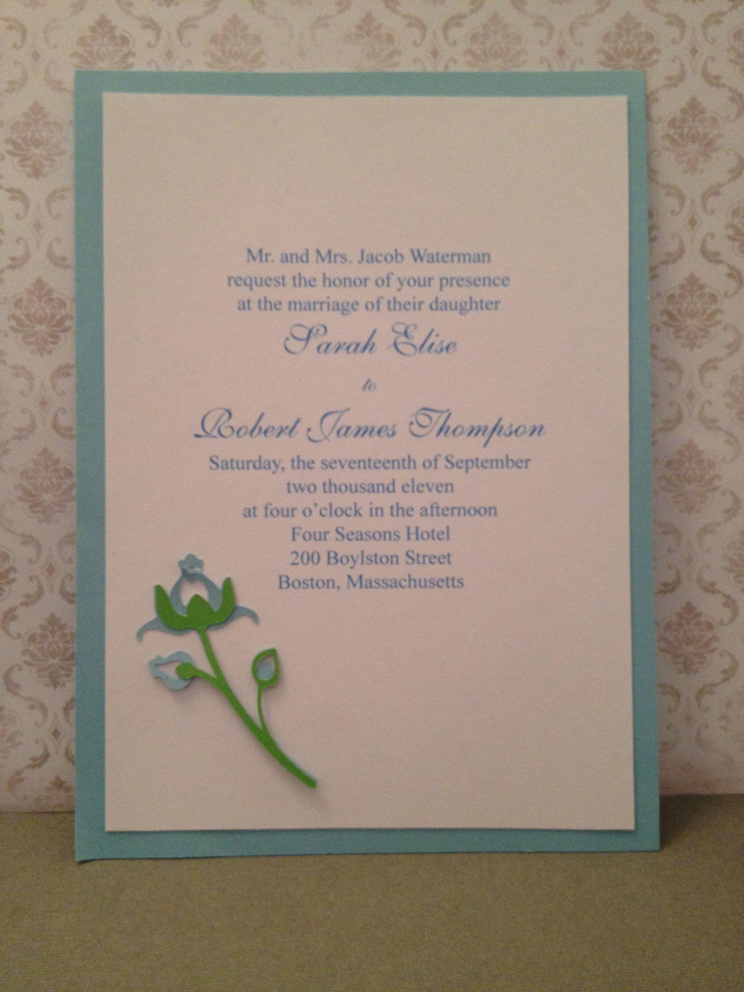 Single Rose Wedding Invitation. Custom orders accepted