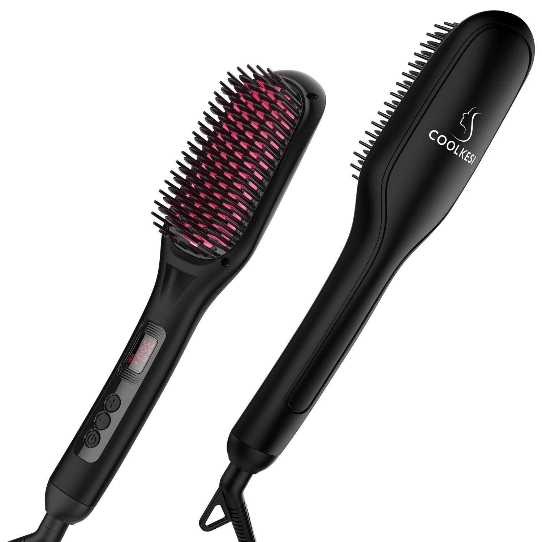 Ionic Hair Straightener Brush By Coolkesi 30s Fast Mch Ceramic Heating Hair Straightening Brush In 2020 Hair Brush Straightener Straightening Brush Hair Straightener