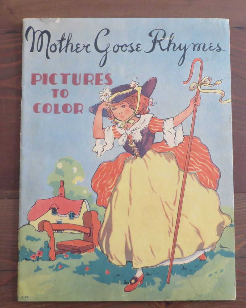 Vintage Whitman Coloring Book MOTHER GOOSE RHYMES 1937 VGC ...
