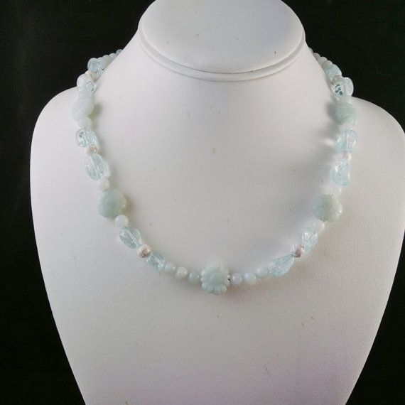 Amazonite Necklace, Blue Ice Quartz, Amazonite Flowers by SmokynBluDesigns
