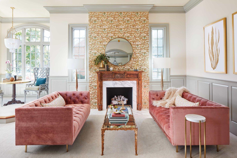 Peppeard Design living room. Pink sofas. Velvet sofas ...